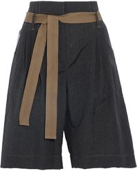 Brunello Cucinelli - Belted Wool And Linen-blend Shorts - Lyst