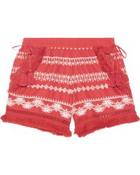 Rachel Zoe - Karlene Tasseled Embroidered Cotton-gauze Shorts - Lyst
