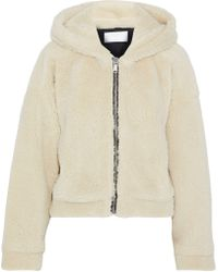 RE/DONE - Woman Faux Shearling Hoodie Cream - Lyst