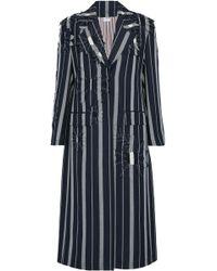 Thom Browne - Floral-appliquéd Striped Mohair Coat Midnight Blue - Lyst