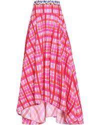 Peter Pilotto - Pink Check Print Long Skirt - Lyst