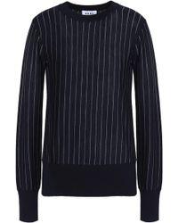 DKNY - Pinstriped Merino-wool Sweater - Lyst