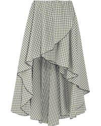 Caroline Constas - Asymmetric Gingham Cotton Skirt - Lyst