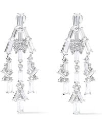 Noir Jewelry - Récolter Rhodium-plated Crystal Earrings Silver - Lyst