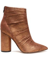 Sigerson Morrison - Kimay Ruched Leather Ankle Boots Light Brown - Lyst