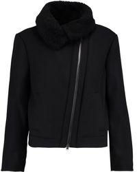 Vince - Shearling-trimmed Wool-blend Jacket - Lyst