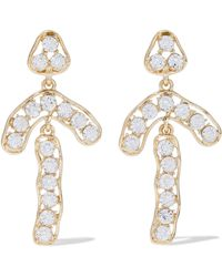Kenneth Jay Lane - Gold-tone Crystal Clip Earrings - Lyst