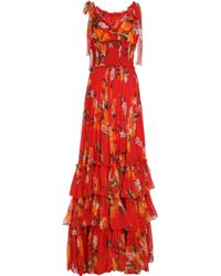 Dolce & Gabbana - Tiered Shirred Floral-print Silk-chiffon Gown Tomato Red - Lyst