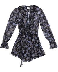 Zimmermann - Belted Floral-print Crinkled Silk-chiffon Playsuit - Lyst