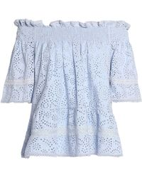 Needle & Thread - Off-the-shoulder Lace-trimmed Broderie Anglaise Cotton Top Light Blue - Lyst