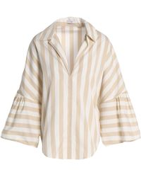 TOME - Striped Cotton-poplin Top - Lyst
