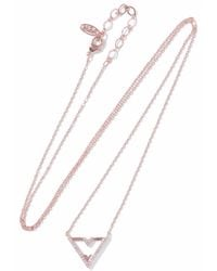 Astrid & Miyu Astrid & Miyu Woman Fitzgerald Triangle 18-karat Rose Gold-plated Crystal Necklace Rose Gold Size TcjsQ