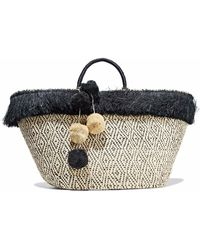 Kayu - Pompom-embellished Fringed Straw Tote - Lyst