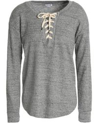 Splendid - Lace-up Marled Waffle-knit Top - Lyst