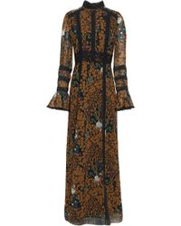 Anna Sui Lace-trimmed Printed Chiffon Maxi Dress Light Brown