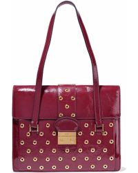 Redvalentino Woman Eyelet-embellished Textured Patent-leather Shoulder Bag Merlot Size Red Valentino Buy Cheap How Much Discount Lowest Price Free Shipping Extremely ew0GV