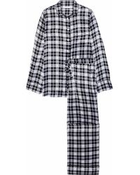 Equipment - Woman Avery Checked Washed-silk Pyjama Set Black Size Xs - Lyst