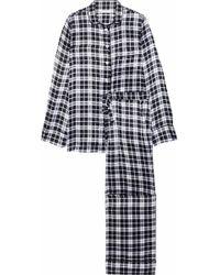 Equipment - Woman Avery Checked Washed-silk Pyjama Set Black - Lyst