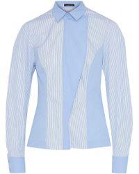 Versace - Panelled Striped Cotton Shirt Light Blue - Lyst