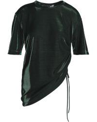 Love Moschino - Asymmetric Metallic Woven Top Dark Green - Lyst