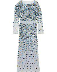 ALEXACHUNG - Sequin-embellished Linen-point D'esprit Midi Dress - Lyst