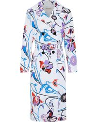 Emilio Pucci - Floral-print Cotton-blend Faille Trench Coat - Lyst