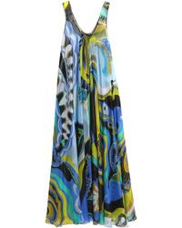 Emilio Pucci - Metallic Printed Silk-blend Georgette Coverup - Lyst