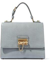 4f4c98c87b Dolce   Gabbana - Woman Monica Lizard-effect Leather Shoulder Bag Gray -  Lyst