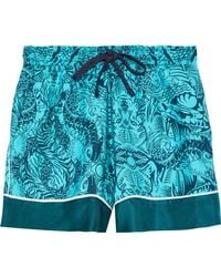 Mary Katrantzou - Woman Rook Printed Silk-twill Shorts Turquoise - Lyst