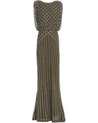 Rachel Gilbert - Yuliya Fluted Embellished Tulle Gown Army Green - Lyst