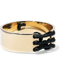 Arme De L'Amour - Woman Gold-plated Leather-trimmed Ring Gold - Lyst