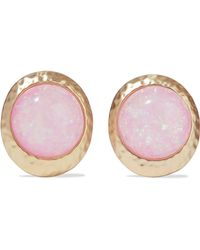 Kenneth Jay Lane - Hammered Gold-tone Stone Clip Earrings Pastel Pink - Lyst
