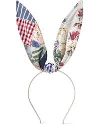 Maison Michel - Heidi Patchwork Cotton Bunny Ears Headband - Lyst