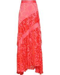 Peter Pilotto - Woman Devoré Chiffon-paneled Jacquard Maxi Skirt Pink - Lyst