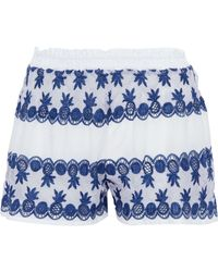 Miguelina - Cotton Poplin-paneled Crocheted Shorts - Lyst