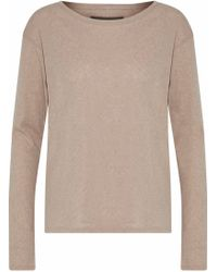 Enza Costa - Woman Cotton And Cashmere-blend Sweater Mushroom - Lyst