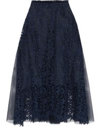 OSMAN | Paneled Guipure Lace And Tulle Midi Skirt | Lyst
