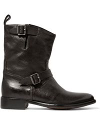 Belstaff - Bedford Buckled Textured-leather Boots - Lyst