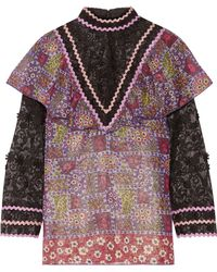 Anna Sui - Embroidered Tulle And Printed Silk-blend Chiffon Blouse - Lyst