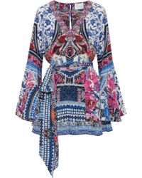 Camilla - Belted Printed Silk Crepe De Chine Playsuit - Lyst