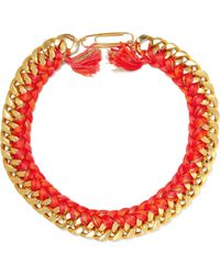 Aurelie Bidermann - Do Brasil 18-karat Gold-plated And Braided Cotton Necklace - Lyst