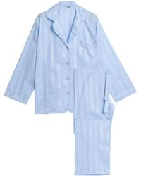 Bodas - Striped Cotton Pyjama Set Light Blue - Lyst
