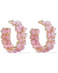 Kenneth Jay Lane - Gold-tone, Stone And Crystal Hoop Earrings Baby Pink - Lyst
