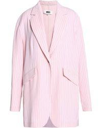 MM6 by Maison Martin Margiela - Pinstriped Crepe Blazer Pastel Pink - Lyst