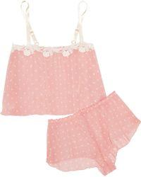 Hanky Panky - Darlington Lace-trimmed Polka-dot Chiffon Pyjama Set - Lyst