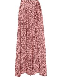 Alexis - Corinna Wrap-effect Printed Crepe Maxi Skirt - Lyst