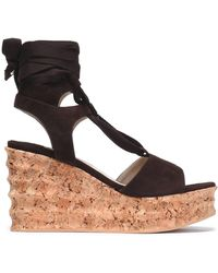 Paloma Barceló - Lace-up Suede Wedge Platform Sandals - Lyst
