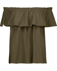 Current/Elliott - The Ruffle Off-the-shoulder Cotton-jersey Top - Lyst