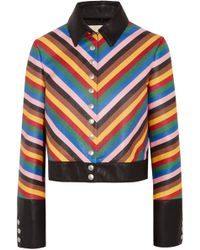 Sara Battaglia - Cropped Striped Leather Jacket - Lyst