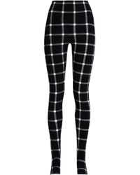 Norma Kamali - Checked Stretch-jersey Leggings - Lyst